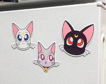 Sailor Moon's Luna, Artemis, & Diana Magnets