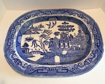 Vintage Large Blue Willow Platter- Semi China England