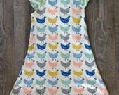 Spring/Summer Organic Chicken Poppies Chevron Flutter Dress 3M 6M 12M 18M 24M 2T 3T 4T 6 8 10 12 -baby girl - shirt shower - Birch