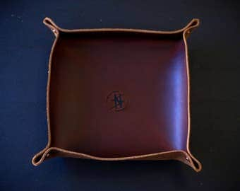 Brown Leather Key Tray// Credenza accessory// Leather Home Accessories