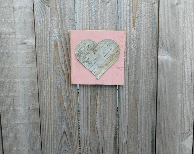 Birch Heart- Heart Decor - Birch Bark Heart on Distressed Pink-Painted Cedar Wood