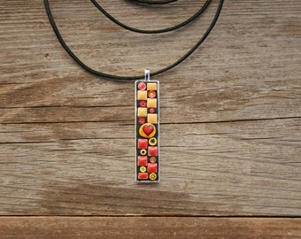 Mosaic Pendant- Orange and Red Flowes and Heart Wearable Art