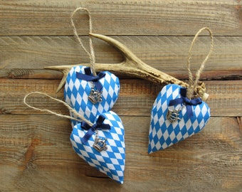 Oktoberfest hearts with crown pendant and satin ribbon, set of 3 fabric heart hangers, Bavarian diamonds blue white, Wies'n country style