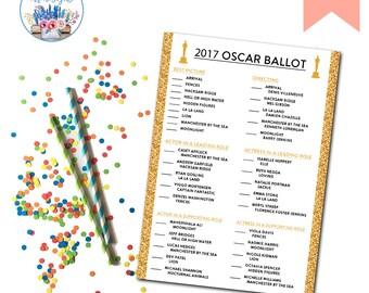 Oscar Ballot, Academy Awards Ballot, Oscar Party, Oscar Voting Card