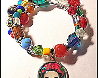 Frida Kahlo Glass Bead bracelet
