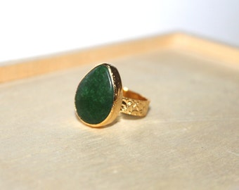 Dark Green Agate Adjustable Ring / Statement Jewelry / Gold Pear Teardrop Unique Boho Bohomian Gift for her, size 6 7 8 9 10,5