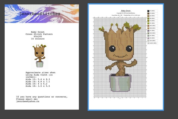 Baby Groot Cross Stitch Pattern From Jennrbeestitches On