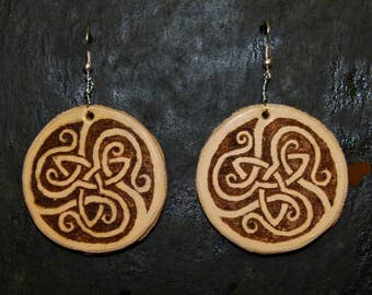 Leather Hand Engraved Celtic Earrings