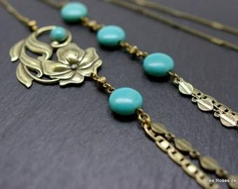 Bronze art deco Long necklace