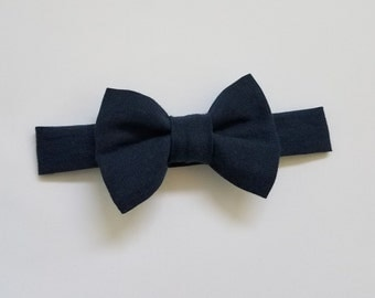 Navy Blue Bow Tie, Baby Toddler Boy Bow Tie, Velcro Clip On Bow Tie, Baby Shower, Baby Gift, Baby Pictures, Formal Wear, Dapper