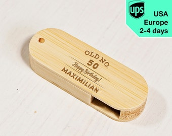 Old No. - Personalised USB flash drive, Laser Engraved Pendrive