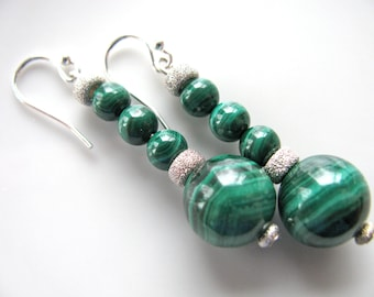 Drop earrings, vintage Malachite beads, Sterling beads and findings, 1 and 1/2 inch long B-883