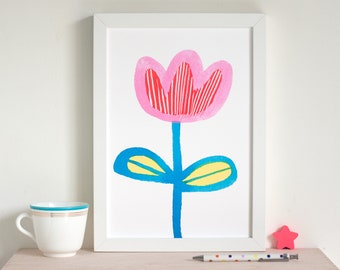 Happy flower art print,wall art for a white room, by inkpaintpaper, single bloom picture, modern simple art, giclée print from a watercolour