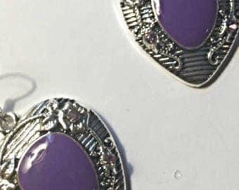 Dark Purple Crystal Tibetan Silver Dangle Earrings On Clearance