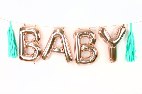 "16"" BABY Rose Gold Balloon Banner, Letter Balloon, Baby Shower, Baby Photo Prop, Baby Shower Decor, Balloon Tassel Kit, Rose Gold Balloon"