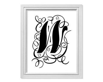 W initial, W Monogram, W Letter, W print, W Art Black Print, Black Printable, W Printable, W Wall Art, W Wall Decor, W Download, Letter W