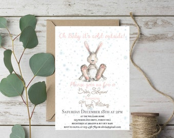 Winter Baby Shower Invitation, Christmas Baby Shower Invitations, Woodland Baby Shower Invites, Baby Girl Baby Shower, Baby Shower Girl