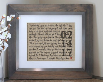 Wedding Gift Song Lyric Art | Personalized Wedding Gifts for Couple | Unique Wedding Vows Art | Song Lyrics Print | Love Artwork for Him Her