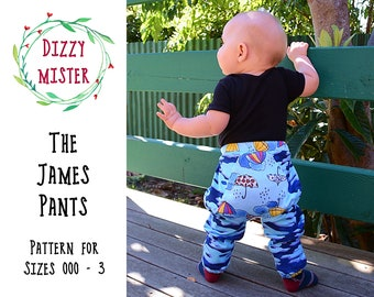 Boys pants sewing pattern, baby pants PDF pattern, toddler trousers digital download, big bottom pants sewing pattern