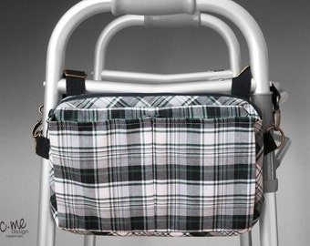 Green plaid cotton walker side bag