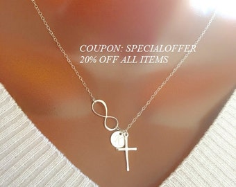 Sterling Silver Infinity Cross Necklace with Initial Disc Charm, Personalized Initial Charm, Engraved Necklace, Beautiful Gift