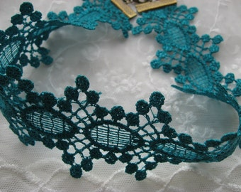Lace Choker Guipure lace trim in Dark Turquoise, handmade, boho gothic necklace