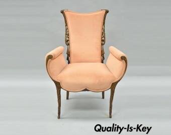 Vintage Hollywood Regency French Grosfeld House Styl Carved Drape Fireside Chair