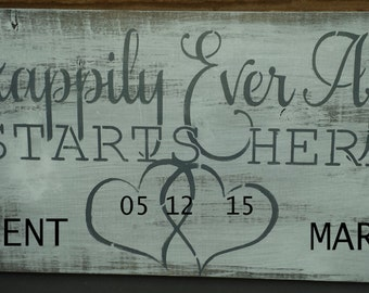 PERSONALIZED/VALENTINE/ROMANTIC/Wedding Sign/Happily Ever After Begins Here Sign/Wedding Aisle/Reception Sign/Entrance