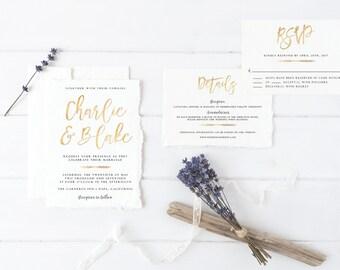 Gold Printable Wedding Invitation Set, Minimal Invitation Suite, Wedding Invitation Printable, Modern Wedding Invitation, Gold Foil Invite