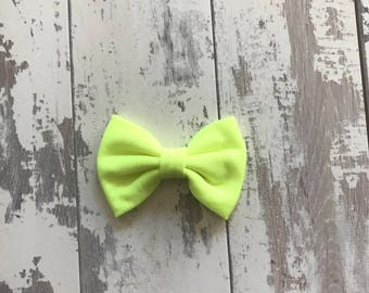 Neon Yellow cotton bow, hair bow, bow, hair accessory, Gingham, bows, headbands, baby headbands,