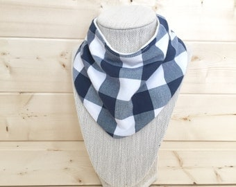 Bib - scarf bib - bibdana - drool bib - Navy Checkers & organic cotton/bamboo terry