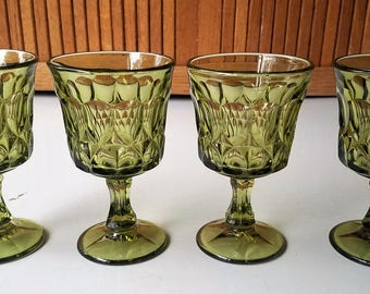 Set of 4 Avocado Green Noritake Perspective Water Goblets