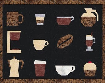 12 Cafe Quilt Block Patterns, Coffee, Tea, Hot Drinks - Foundation Paper Piece Patch - PDF Download; cups, muffin, coffee bean, kettle