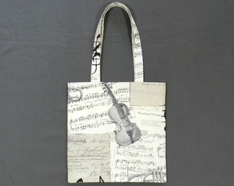 Music book bag - Shopping bag - Tote bag - Lined fabric bag - Library bag - Book tote - Music bag - Musician