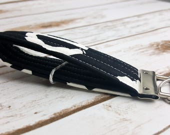Black and White Typography Quilted Key Fob/Key Chain