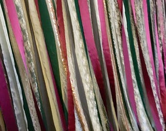 Romantic backdrop, garland, fabric backdrop cranberry green lace photobooth, GOLD, photo booth, summer wedding, fall wedding, wine and moss