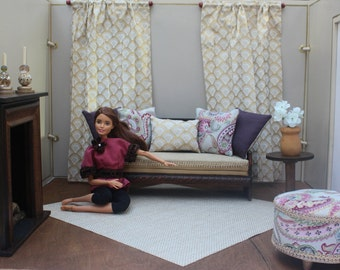 1:6 Scale Barbie Dollhouse Elegant Miniature Accessories & Ottoman, Pillows, Curtains; for Fashion dolls such as Poppy Parker, and More