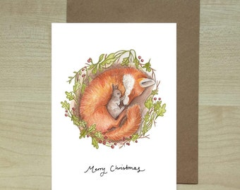 Fox and Rabbit christmas card