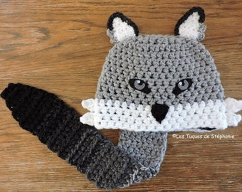 Crocheted Wolf hat LINED white fleece and its tail serves as a scarf CUSTOM, wolf hat for child, teen, adult, cute wolf hat and wolf scarf