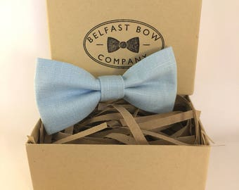 Handmade Linen Bow Tie in Pastel Blue - Adult & Junior sizes available