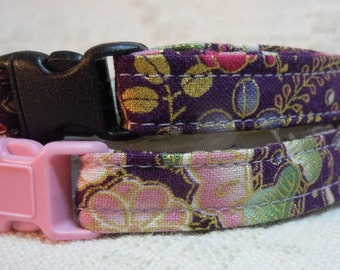 Fancy Cat Collar / Pretty Cat Collar / Cat Collar with Flowers / Safety Cat Collar / Breakaway Cat Collar / Matching Dog Collar Available