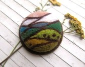 Needle felted brooch Mother gift Boho fashion Woman gift Stained glass Modern jewelry Felt ornaments  Round pin