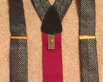 REDUCED PRICE  Vintage TRAFALGAR Braces Black , Gray and Burgundy Design Ajustable Suspenders