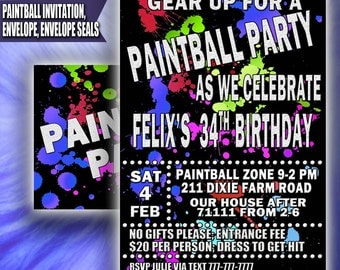 Printable Paintball Party, Paintball Invitation, Paintball Birthday Invitation, Paintball Printable Invitation, Paintball Party Invitation