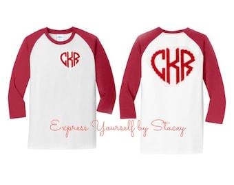 Valentine Raglan, Monogram Raglan, Monogram Valentine's Shirt, Scalloped Monogram, Heart Monogram