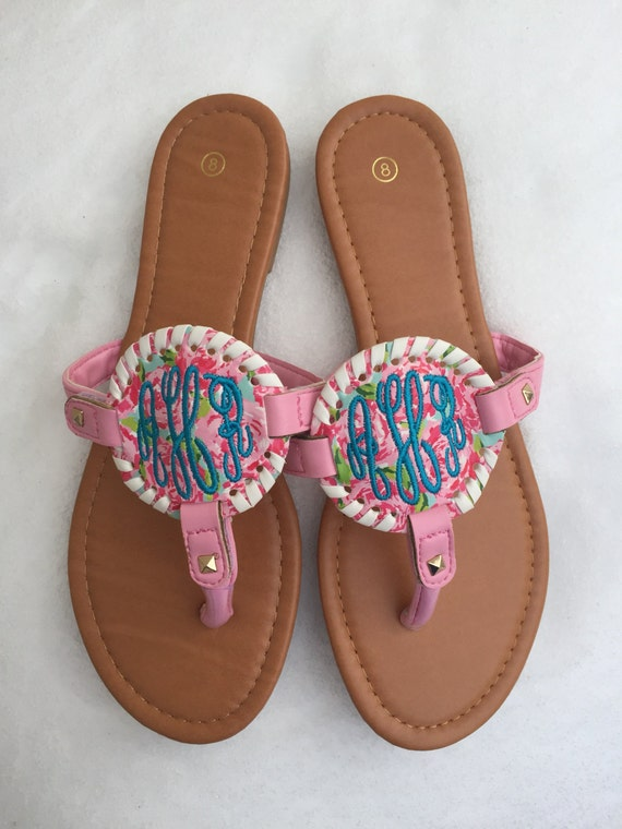 Monogram Sandals Lilly Inspired Monogrammed Embroidered