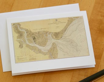 "St. Simon Sound Map Note Cards (1925) 4.25""x5.5"""