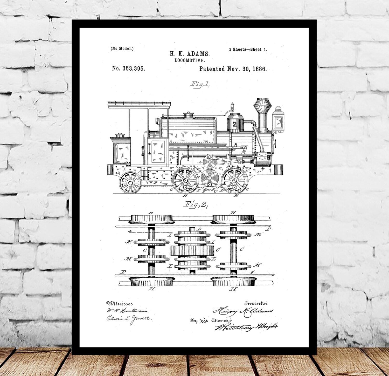 Locomotive print locomotive poster locomotive patent locomotive locomotive print locomotive poster locomotive patent locomotive art locomotive blueprint locomotive wall art train decor p196 malvernweather Gallery