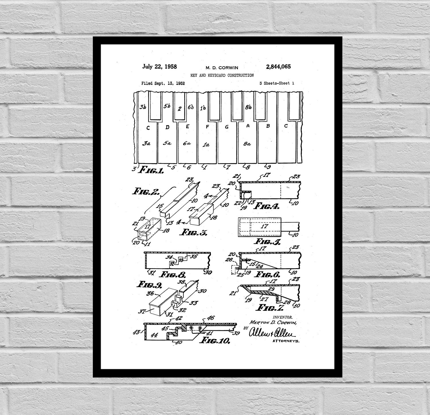 Piano keys patent piano poster piano blueprint piano for Blueprint sizes