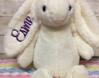 Monogrammed Easter Bunny, Personalized Easter Bunny, Embroidered Easter Bunny, Personalized Easter Bunny Plushie, Easter Bunny plush